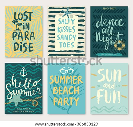 Summer hand drawn calligraphyc card set. Vector illustration. - stock vector