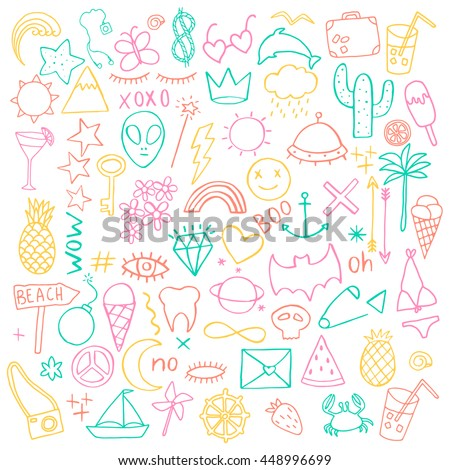 Summer hand drawn doodles. Cute fun set. Vector illustration