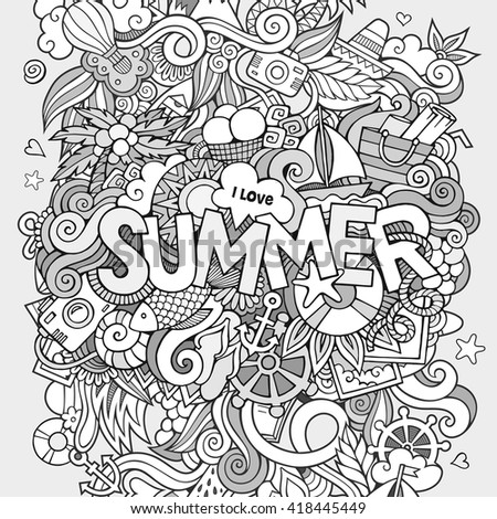 Summer hand lettering and doodles elements. Vector illustration