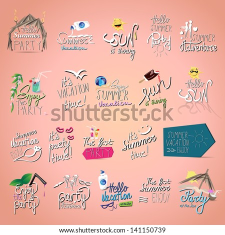 Summer - Hand Lettering Text And Icons Set - Isolated On Pink Background - Vector Illustration, Graphic Design Editable For Your Design. Summer Logo  - stock vector