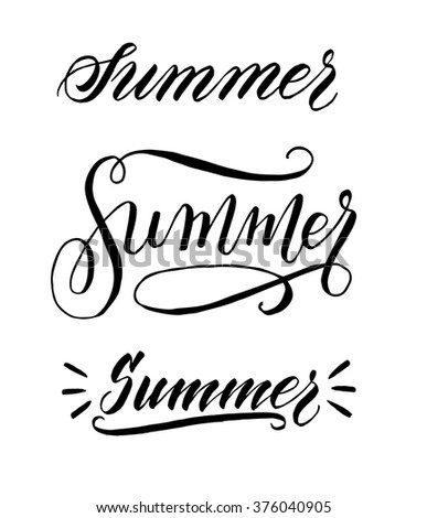Summer. Hand written elegant word for your design. Custom hand lettering. Modern calligraphy. Can be printed on greeting cards, posters, wrapping paper, textile, etc. - stock vector