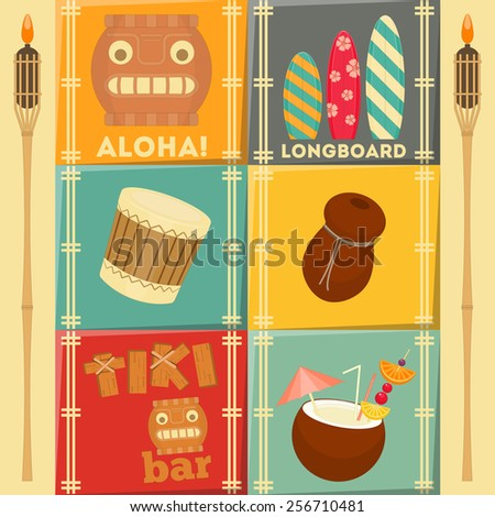 Summer Hawaii Cards Set. Vector Illustration.  - stock vector