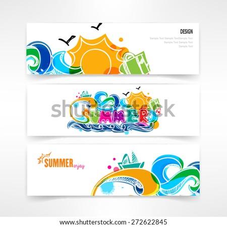 summer header set of three banner designs business vector - stock vector