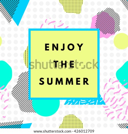 Summer hipster boho chic background with memphis geometric texture. Minimal printable journaling card, creative card, art print, minimal label design for banner, poster, flyer. - stock vector