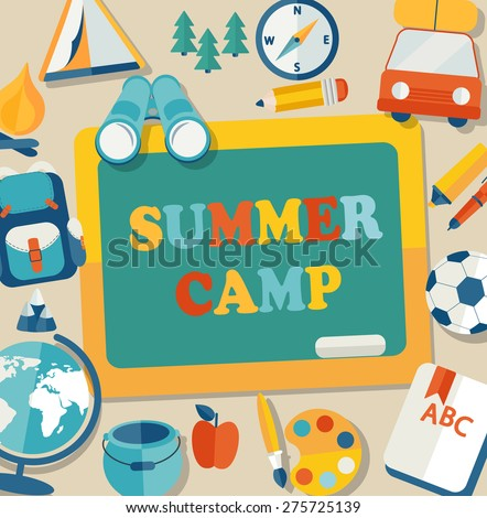 Summer Holiday and Travel themed Summer Camp poster in flat style, vector illustration. - stock vector