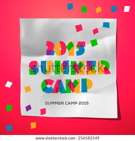 Summer Holiday and Travel themed Summer Camp poster, vector illustration.  - stock vector