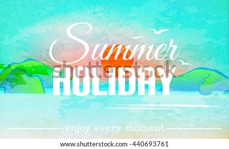 Summer holiday background. Summer card. Sunset background. Watercolor vector landscape. Vector illustration - stock vector