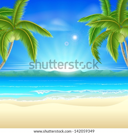 Summer holiday beach background of a beautiful summer sandy beach with coconut palm trees framing the image - stock vector