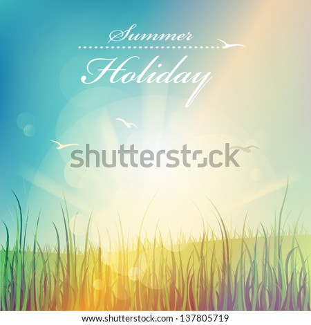 Summer holiday, beautiful vector background - stock vector