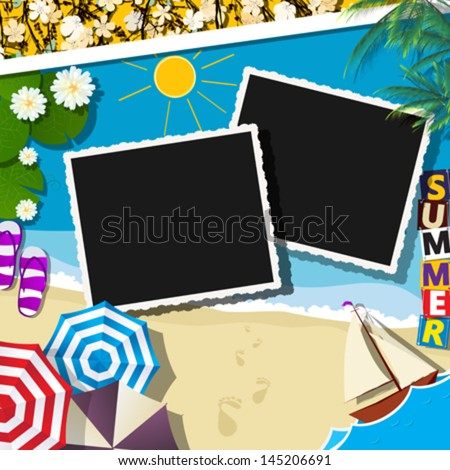 Summer holiday celebration card with space for photos or text
