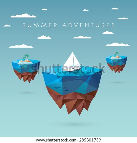 Summer holiday concept design. Low polygonal style with floating islands, yachts, palm trees. Tropical paradise advertisement. Eps10 vector illustration. - stock vector