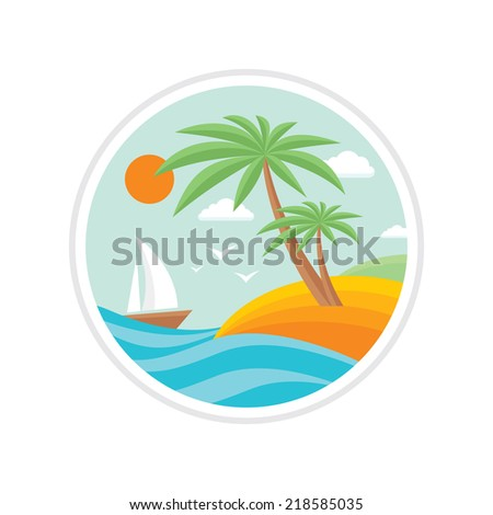 Summer holiday - creative logo sign in flat design style for different design projects. Vector logo template. Tropical paradise. - stock vector