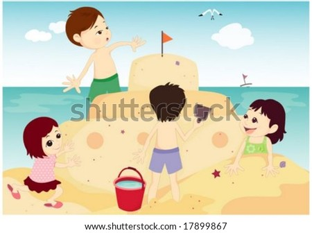 Summer Holiday - enjoying and playing with cheerful cute young children on the sand beach on happy vacation on a background of bright blue sky and beautiful ocean : vector illustration - stock vector