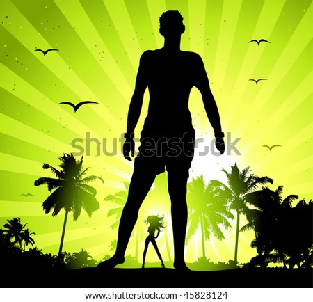 Summer holiday, man and beautiful girl silhouette on sunset - stock vector