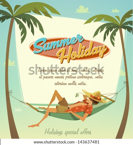 Summer holiday. Retro bacground - stock vector
