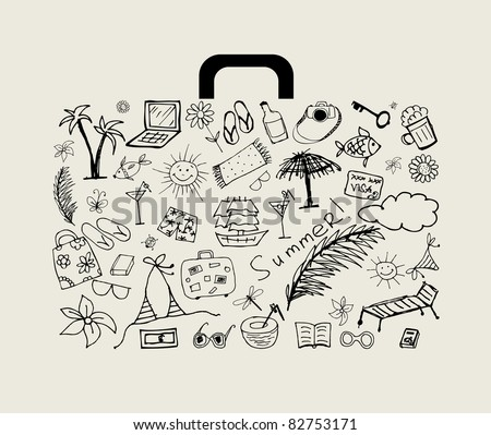 Summer holiday, suitcase for your design - stock vector