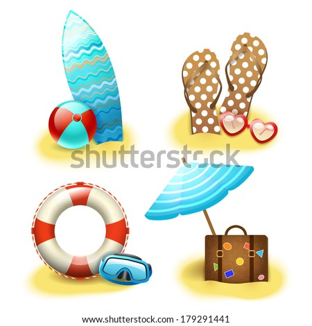 Summer holiday vacation accessories collection of sandals suitcase parasol and surfboard isolated vector illustration - stock vector