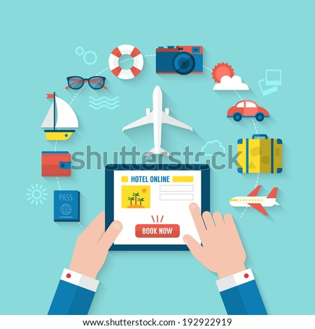 Summer holiday vacation booking online concept with flat icons. Vector illustration - stock vector