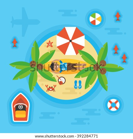 Summer holiday vacation concept with man on desert island. Overhead view. Vector illustration - stock vector
