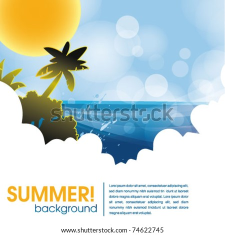 summer holiday web and print template - tropical island - stock vector