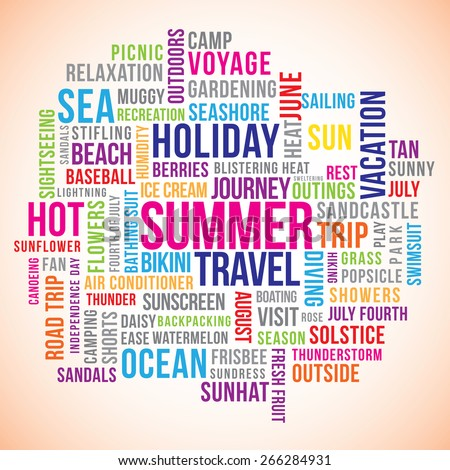 Summer holiday word cloud vector with related  text.