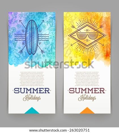 Summer holidays and travel banners with line drawing hipster emblems - vector illustration - stock vector