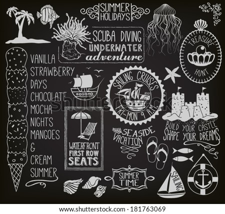 Summer Holidays Chalkboard - Blackboard with summer themed labels, banners, frames and clip art, including ships, sand castle, fish, anchor, beach umbrella and chair, seashells and ice cream  - stock vector