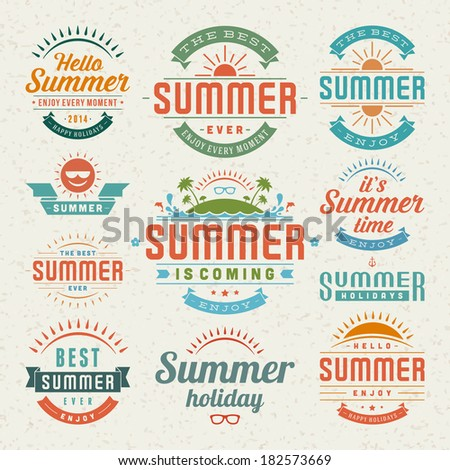 Summer holidays design elements and typography design. Retro and vintage templates. Flourishes calligraphic ornaments, labels, badges, cards. Vector set.  - stock vector