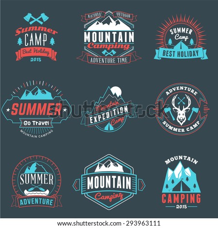 Summer Holidays Design Elements. Set of Hipster Vintage Logotypes and Badges in Three Colors on Dark Background - stock vector