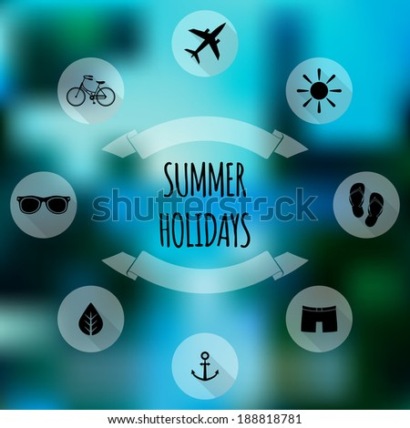Summer holidays flat icons on blurred background. Web design, mobile interface - stock vector