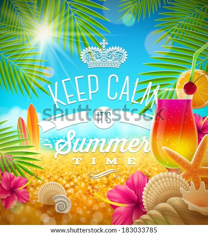 Summer holidays greeting - tropical design, vector illustration - stock vector