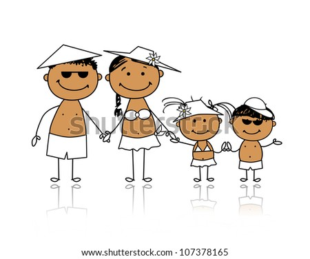 Summer holidays. Happy family for your design - stock vector