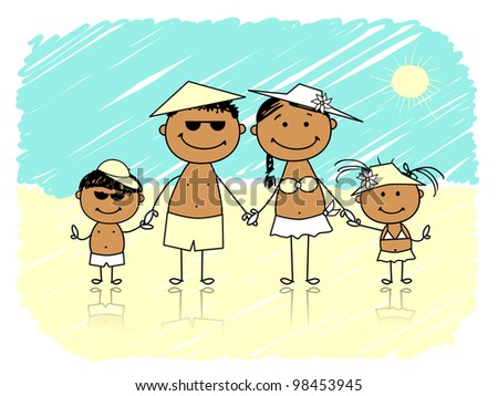 Summer holidays. Happy family on the beach - stock vector