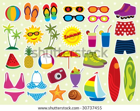 Summer holidays icon set. Please visit my portfolio for similar images. - stock vector