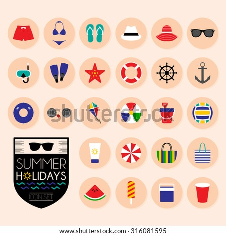 Summer holidays icons set - stock vector