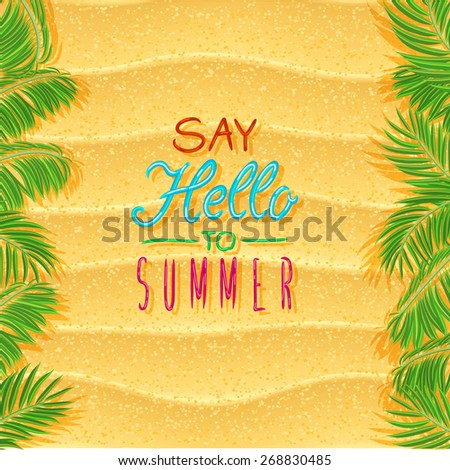 Summer holidays illustration. Beach landscape scene with sand. Top view. - stock vector