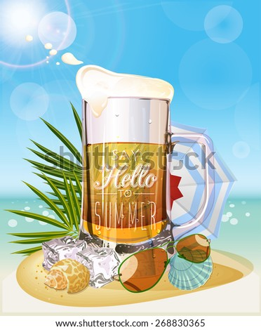 Summer holidays illustration. Mug of beer. Seaside view on sunny day with sand and palm leaves. - stock vector