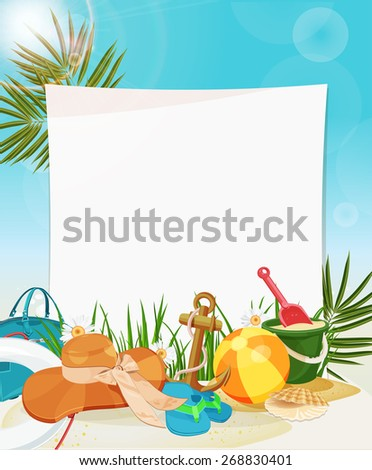 Summer holidays illustration. Seaside view with Frame - stock vector