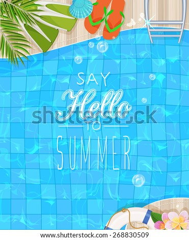 Summer holidays illustration. Top view of swimming pool with clean water - stock vector