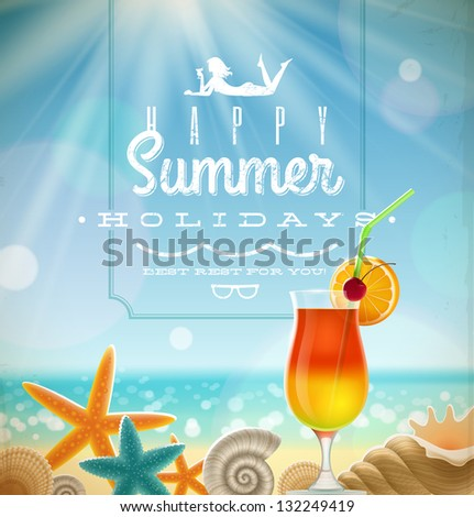 Summer holidays illustration with greeting lettering and tropical resort symbols on a sunny beach - stock vector