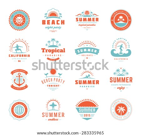 Summer holidays labels design elements and typography set. Retro and vintage templates. Badges, Posters, Emblems, Apparel. Vector set. Beach vacation, party, travel, tropical paradise adventure. - stock vector