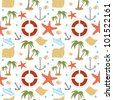 Summer holidays related seamless pattern 2 - stock vector