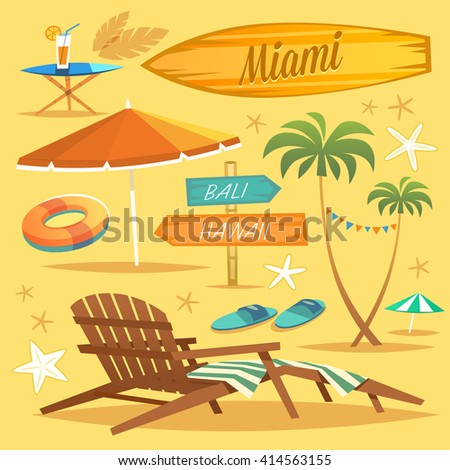 Summer Holidays. Set of objects. Vector Illustration - stock vector