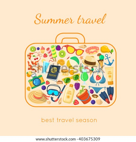 Summer holidays things in a suitcase shape. Vacation travel background. Easy to edit design template. - stock vector