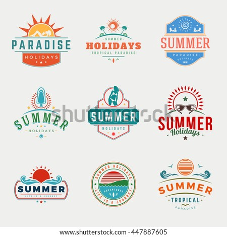Summer Holidays Typography Labels or Badges Vector Design, Summer Silhouettes and Icons for Posters, Greeting Cards and Advertising. Vintage style.  - stock vector