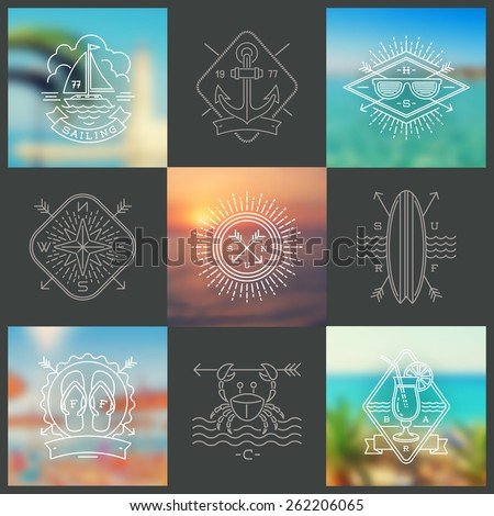 Summer holidays, vacation and travel line drawing signs and emblems on a blurred backgrounds - vector illustration - stock vector