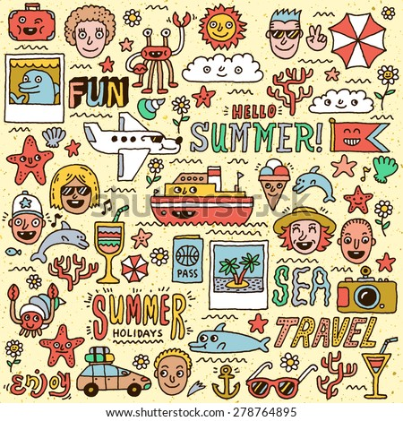 Summer Holidays Vacation Travel Funny Doodle Vector set. Hand drawn illustration. Colorful pattern. - stock vector