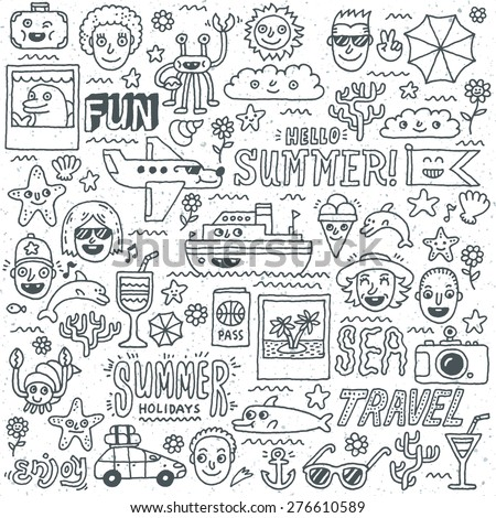 Summer Holidays Vacation Travel Funny Doodle Vector set. Hand drawn illustration. Monochrome pattern. - stock vector