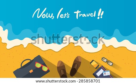 Summer holidays vector illustration,flat design beach and business object concept - stock vector