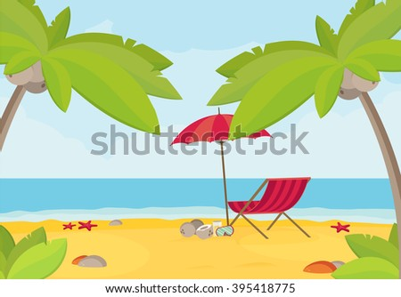 Summer holidays vector illustration,flat design beach and parasol concept - stock vector